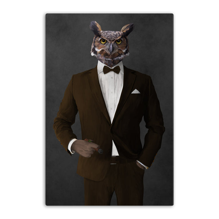 Owl smoking cigar wearing brown suit canvas wall art