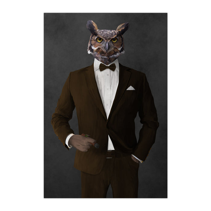 Owl smoking cigar wearing brown suit large wall art print