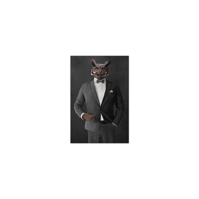 Owl smoking cigar wearing gray suit small wall art print