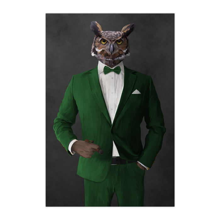 Owl smoking cigar wearing green suit large wall art print