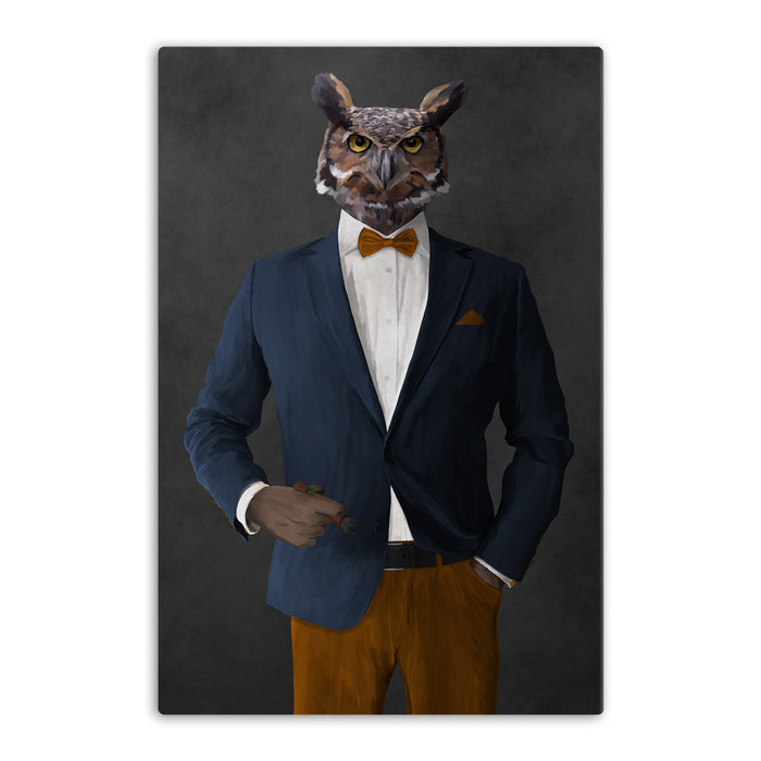 Owl smoking cigar wearing navy and orange suit canvas wall art