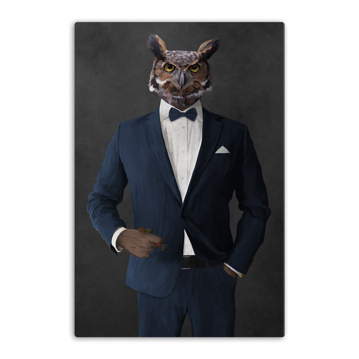 Owl smoking cigar wearing navy suit canvas wall art