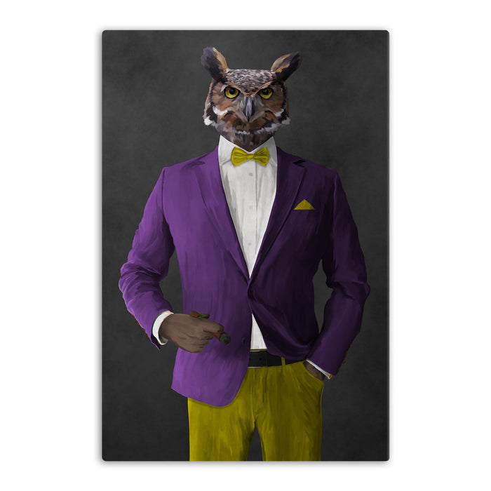 Owl smoking cigar wearing purple and yellow suit canvas wall art