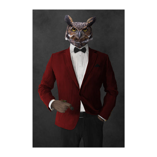 Owl smoking cigar wearing red and black suit large wall art print
