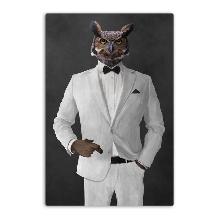Owl smoking cigar wearing white suit canvas wall art