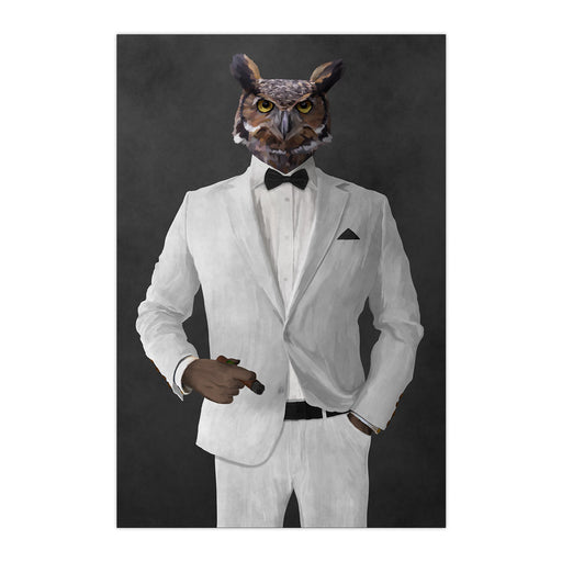 Owl smoking cigar wearing white suit large wall art print