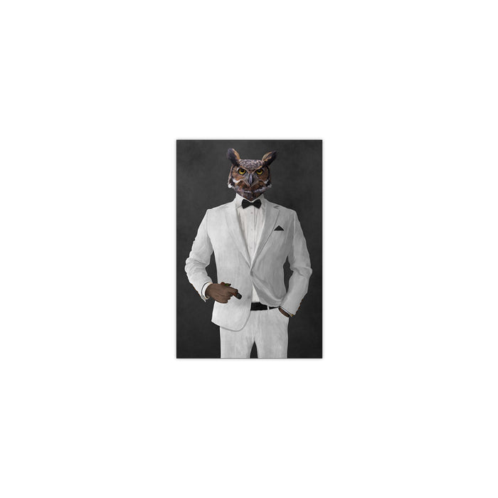 Owl smoking cigar wearing white suit small wall art print