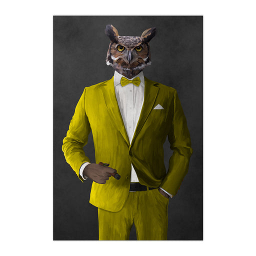 Owl smoking cigar wearing yellow suit large wall art print