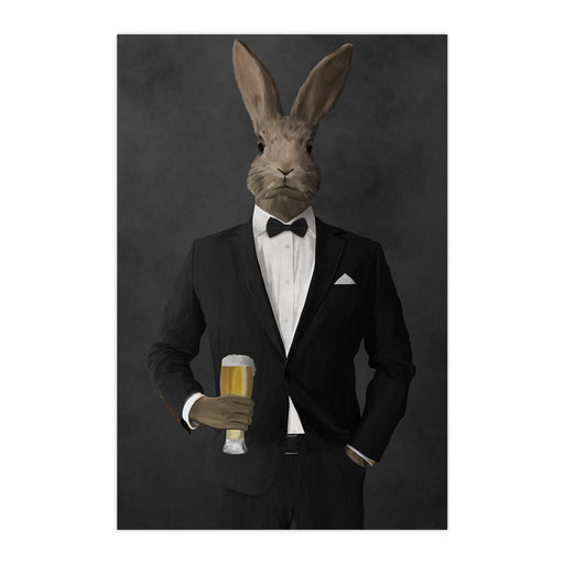 Rabbit drinking beer wearing black suit large wall art print