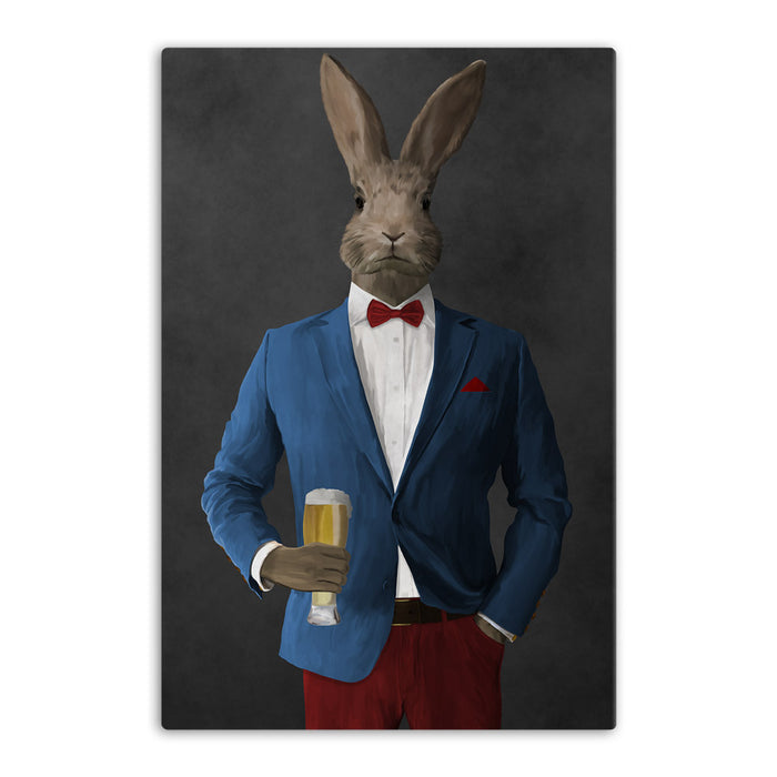 Rabbit drinking beer wearing blue and red suit canvas wall art