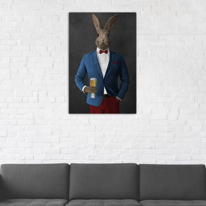 Rabbit Drinking Beer Wall Art - Blue and Red Suit
