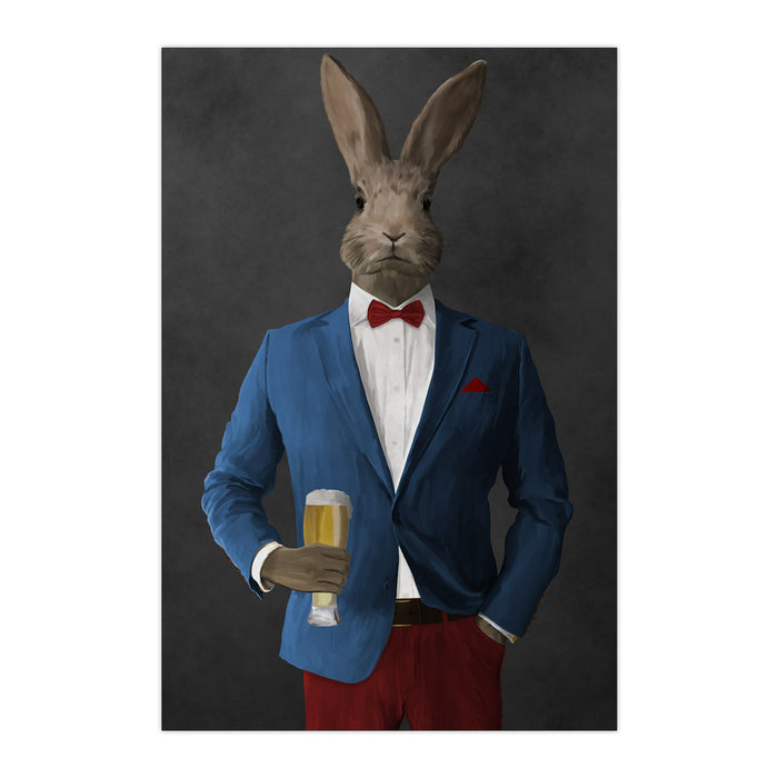 Rabbit drinking beer wearing blue and red suit large wall art print