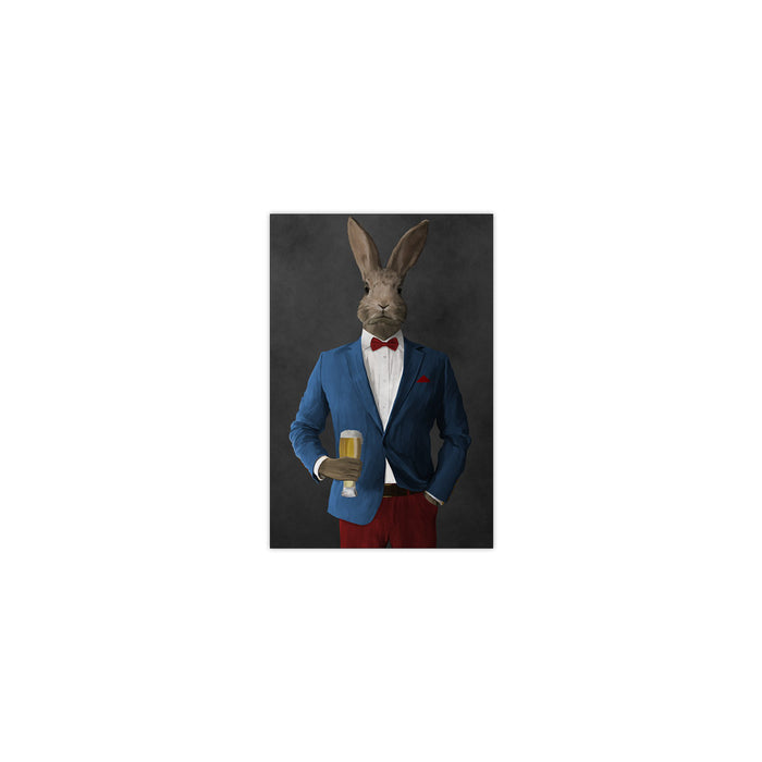 Rabbit drinking beer wearing blue and red suit small wall art print