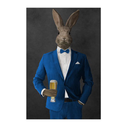 Rabbit drinking beer wearing blue suit large wall art print
