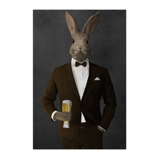Rabbit drinking beer wearing brown suit large wall art print