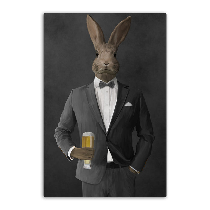 Rabbit drinking beer wearing gray suit canvas wall art