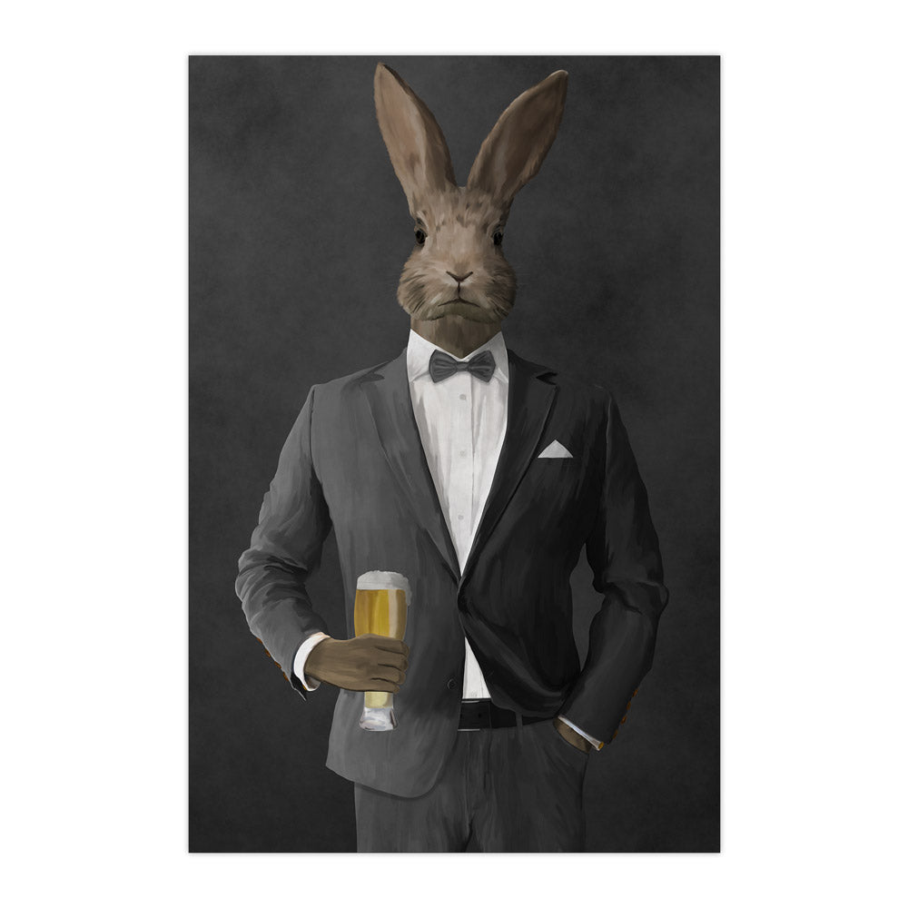 Rabbit drinking beer wearing gray suit large wall art print