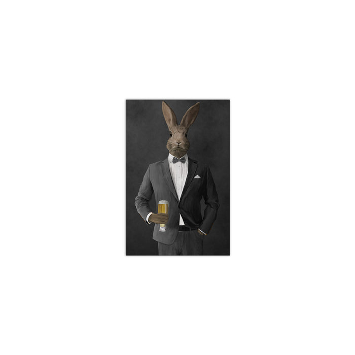 Rabbit drinking beer wearing gray suit small wall art print