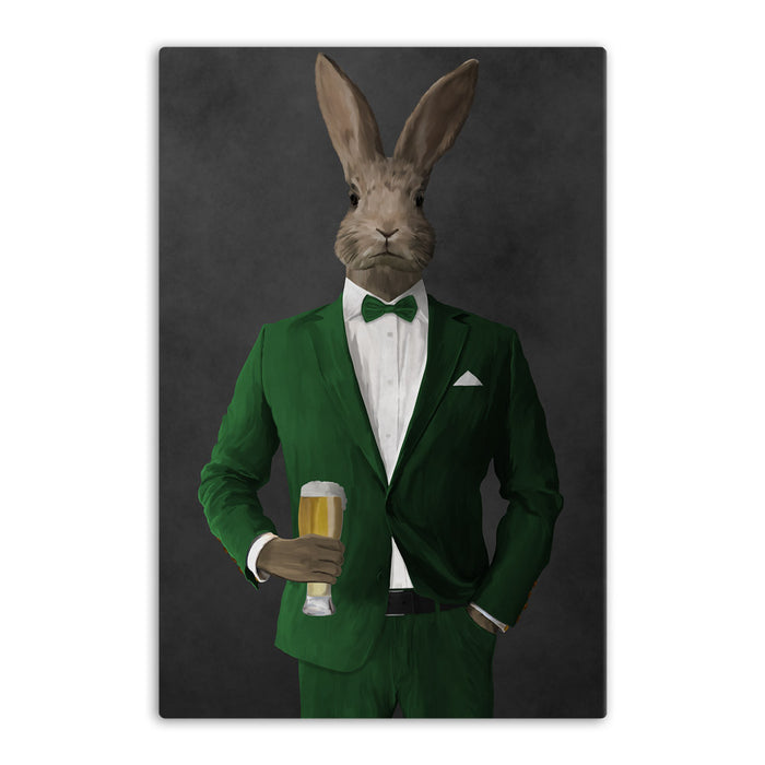 Rabbit drinking beer wearing green suit canvas wall art