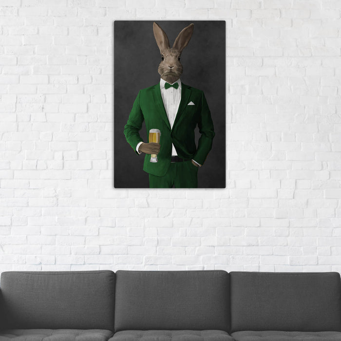 Rabbit Drinking Beer Wall Art - Green Suit