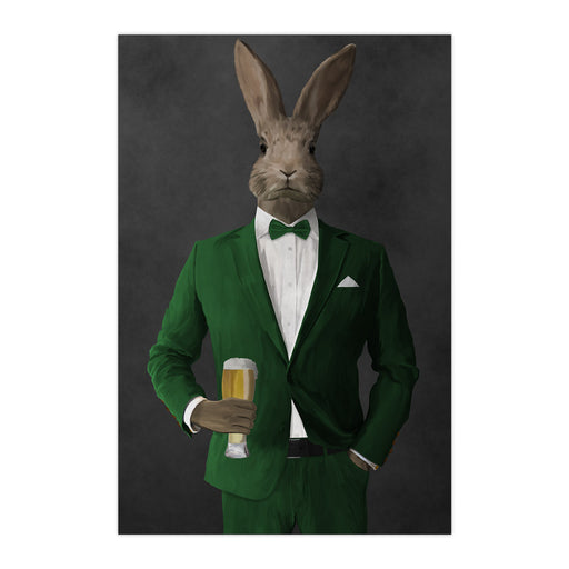 Rabbit drinking beer wearing green suit large wall art print