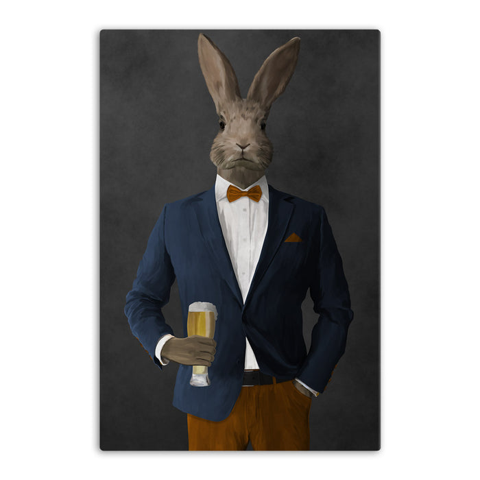Rabbit drinking beer wearing navy and orange suit canvas wall art