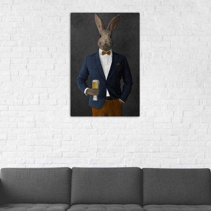 Rabbit Drinking Beer Wall Art - Navy and Orange Suit