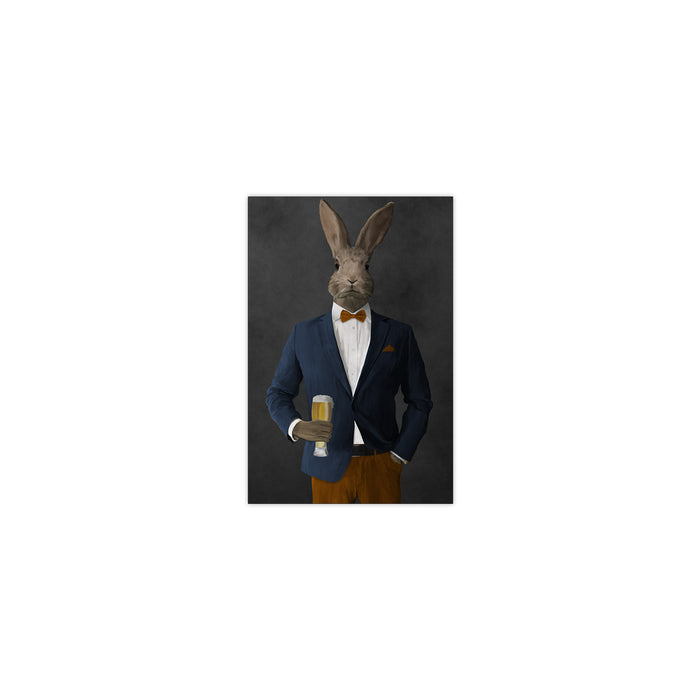 Rabbit drinking beer wearing navy and orange suit small wall art print