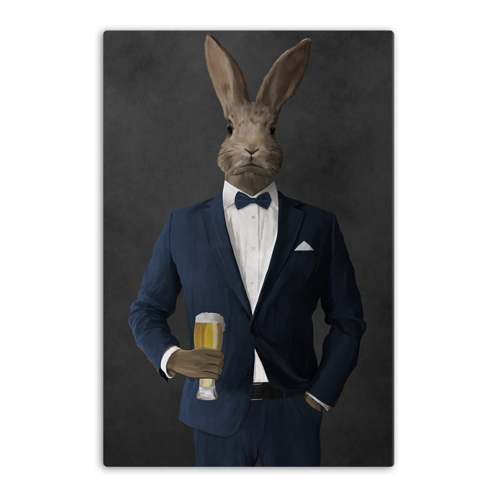 Rabbit drinking beer wearing navy suit canvas wall art