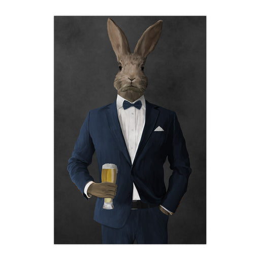 Rabbit drinking beer wearing navy suit large wall art print