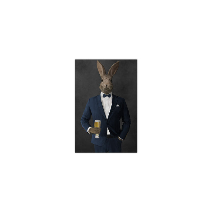 Rabbit drinking beer wearing navy suit small wall art print