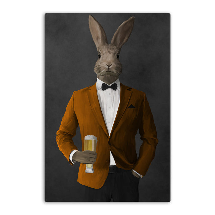 Rabbit drinking beer wearing orange and black suit canvas wall art