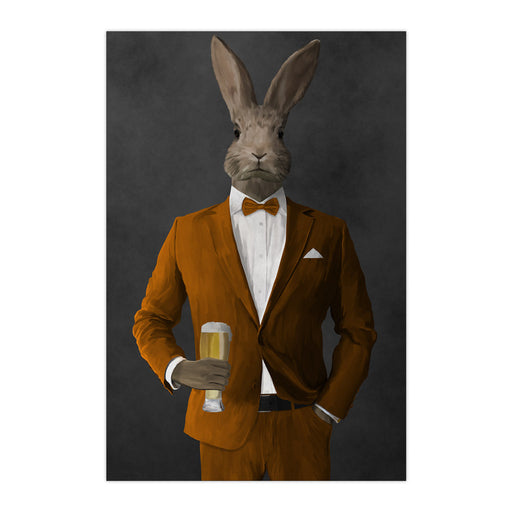 Rabbit drinking beer wearing orange suit large wall art print
