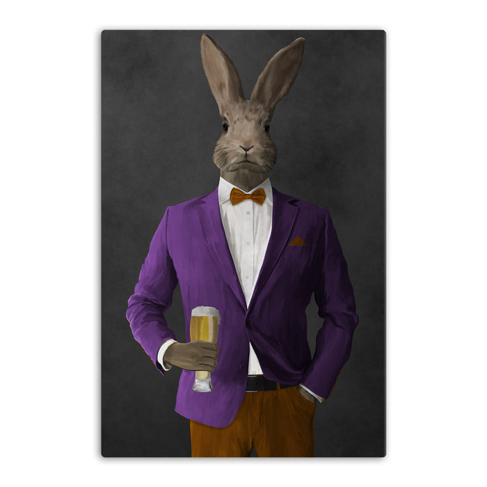 Rabbit drinking beer wearing purple and orange suit canvas wall art