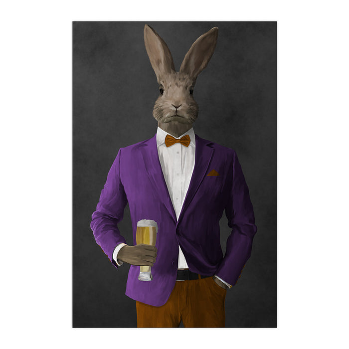 Rabbit drinking beer wearing purple and orange suit large wall art print