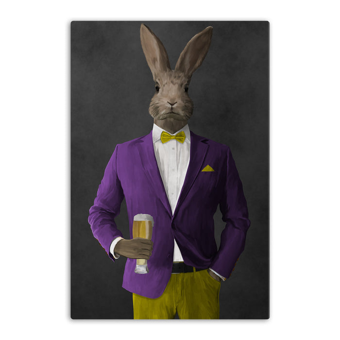 Rabbit drinking beer wearing purple and yellow suit canvas wall art