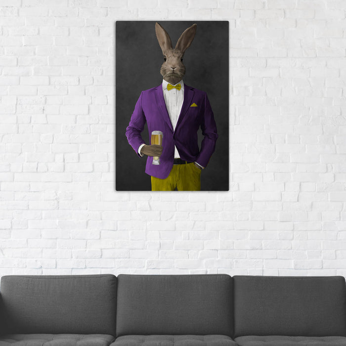 Rabbit Drinking Beer Wall Art - Purple and Yellow Suit