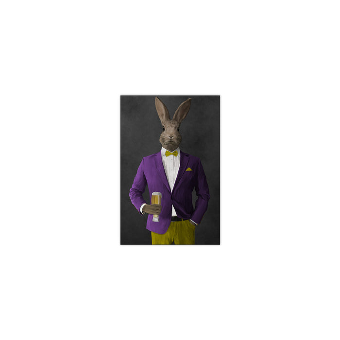 Rabbit drinking beer wearing purple and yellow suit small wall art print