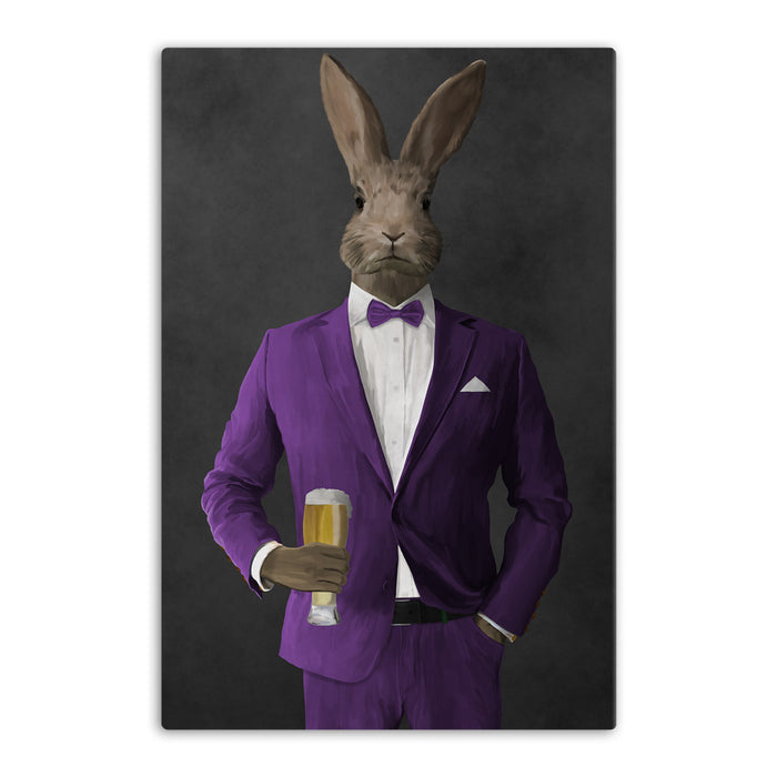Rabbit drinking beer wearing purple suit canvas wall art