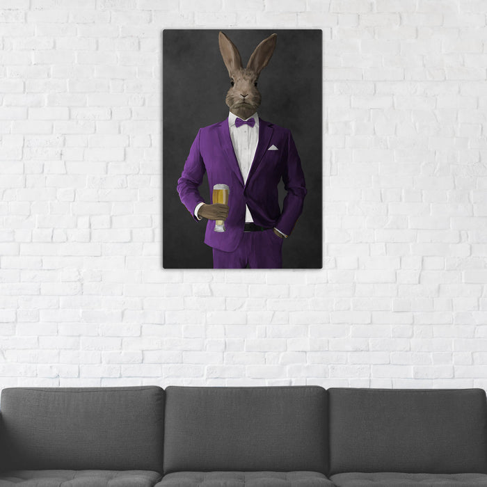 Rabbit Drinking Beer Wall Art - Purple Suit