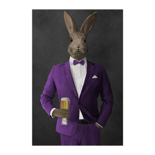 Rabbit drinking beer wearing purple suit large wall art print