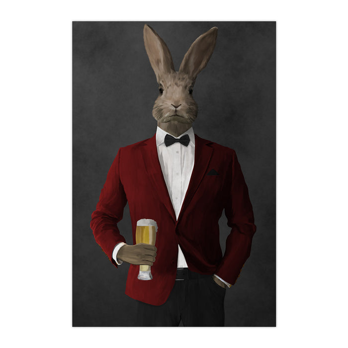 Rabbit drinking beer wearing red and black suit large wall art print