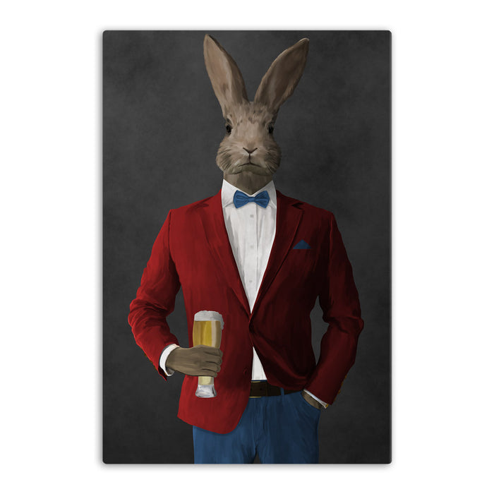 Rabbit drinking beer wearing red and blue suit canvas wall art