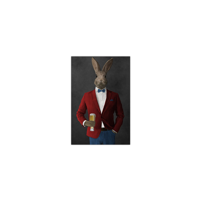 Rabbit drinking beer wearing red and blue suit small wall art print