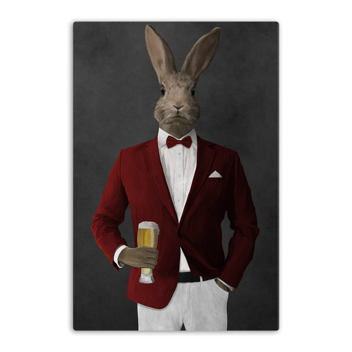 Rabbit drinking beer wearing red and white suit canvas wall art