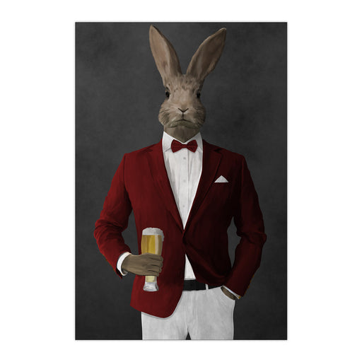 Rabbit drinking beer wearing red and white suit large wall art print