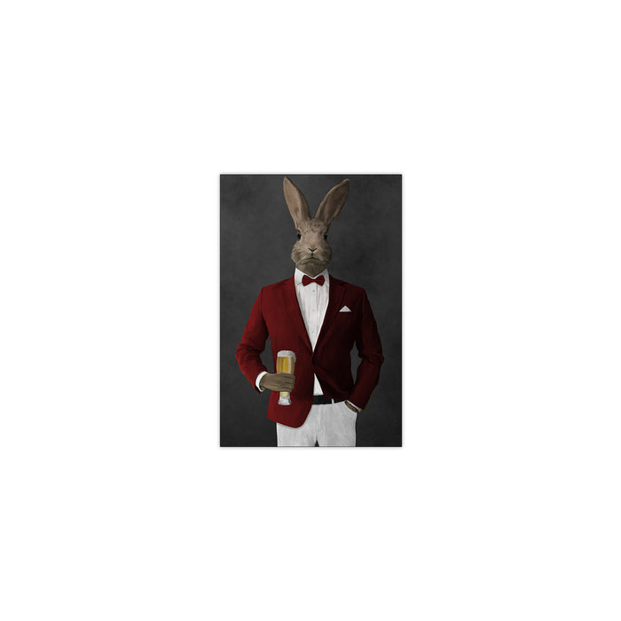 Rabbit drinking beer wearing red and white suit small wall art print