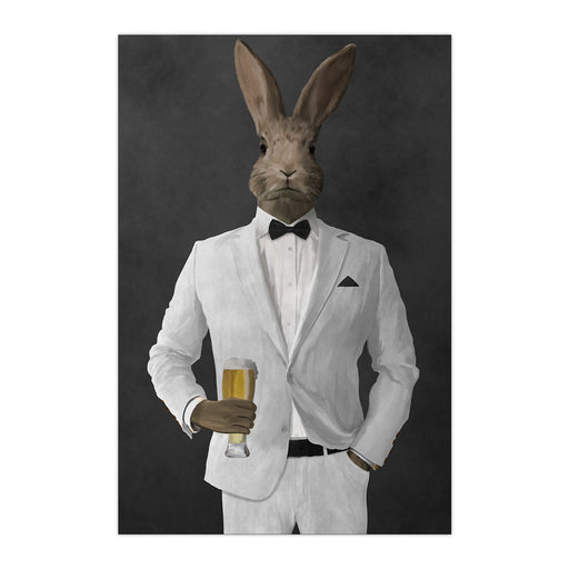 Rabbit drinking beer wearing white suit large wall art print