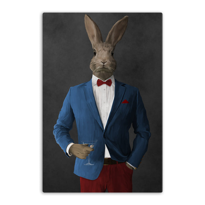 Rabbit drinking martini wearing blue and red suit canvas wall art