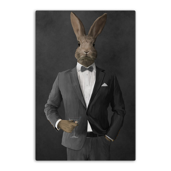Rabbit drinking martini wearing gray suit canvas wall art